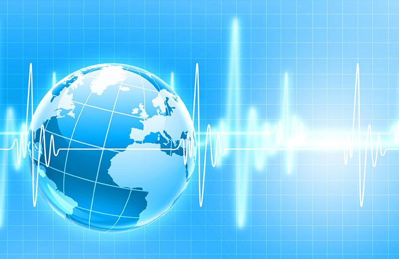 Die Visualisierung von Herzfrequenz über einem Erdball